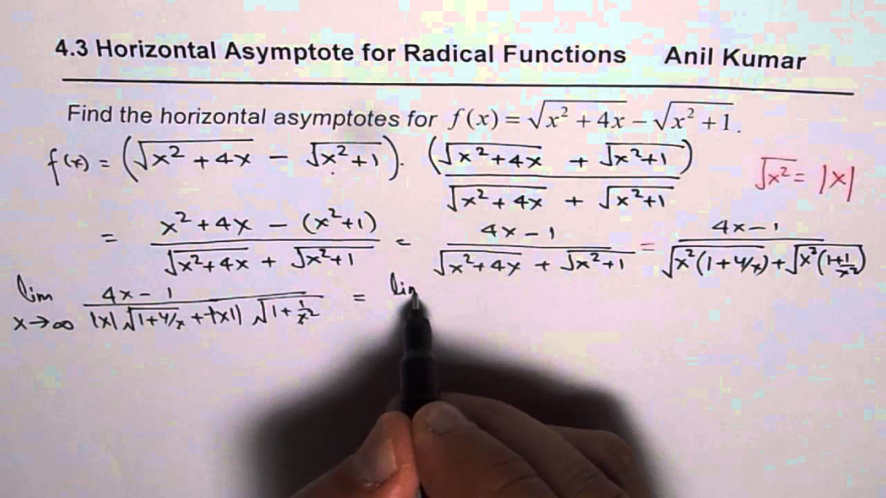 How to find horizontal asymptote for radical expressions youtube how to find horizontal asymptote for radical expressions ccuart Gallery