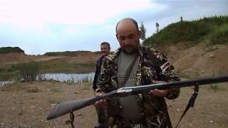 20 калибр, МР-27 и Зауэр стреляем, дистанция 40 шагов,пуля на 60!)))