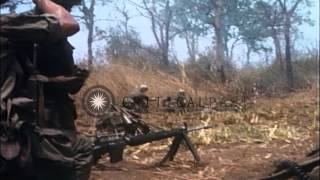 US 173rd Airborne Brigade soldiers fire rifle and mortar in South Vietnam during ...HD Stock Footage
