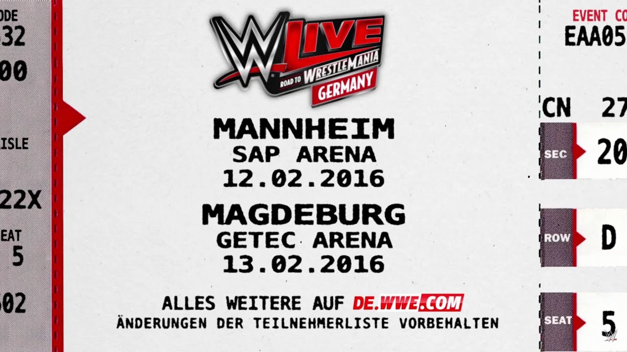 wwe live in deutschland road to wrestlemania tour 10 13 februar 2016 youtube. Black Bedroom Furniture Sets. Home Design Ideas