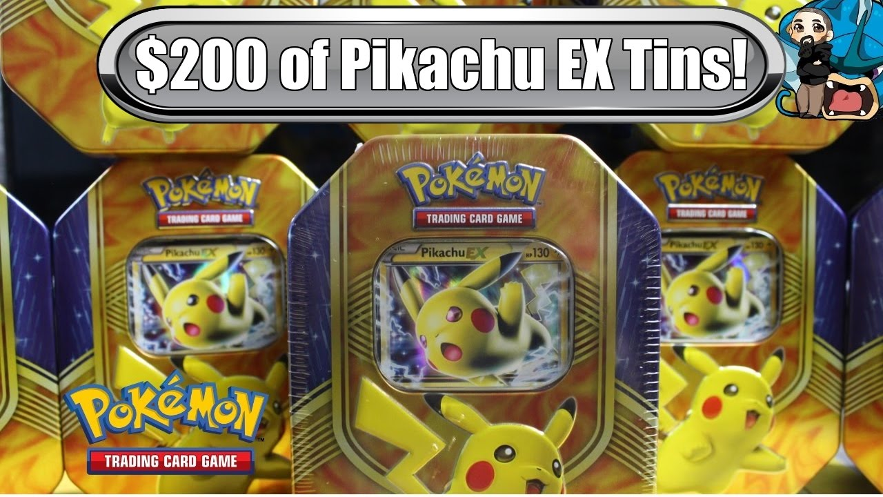 Opening 10x Pikachu EX Battle Heart Tins 200 Worth Pokemon TCG Unboxing