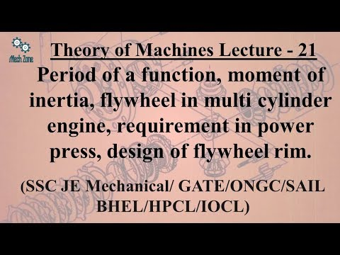 Theory of Machines Lecture 21: Moment of inertia, Multi cylinder engine, design of flywheel rim.