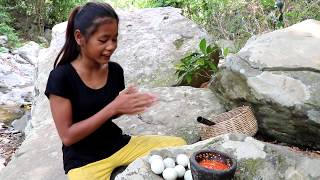 Find food meet Baby eggs duck in jungle for eat - Cook Baby eggs duck eating delicious #22