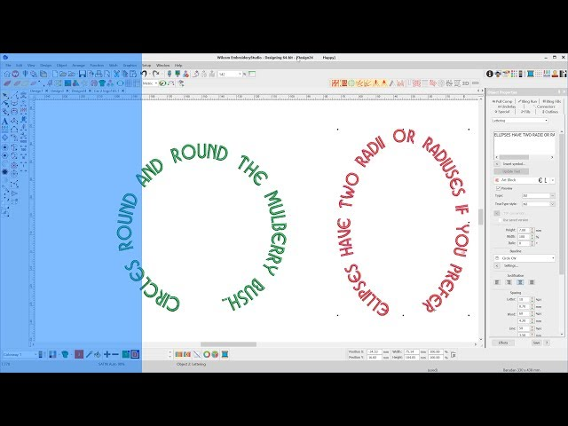 How do I create lettering on a circle or ellipse in Wilcom Embroidery Studio