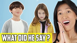 Korean Kid Meets American Kid Reaction  | Boy Meets Girl! So Awkwardly Cute In How They Communicate!