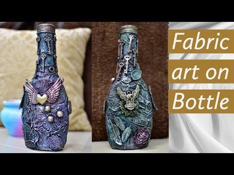 Vintage Bottle decoration ideas|bottle decoration|bottle craft|mixed media altered bottle|upcycle