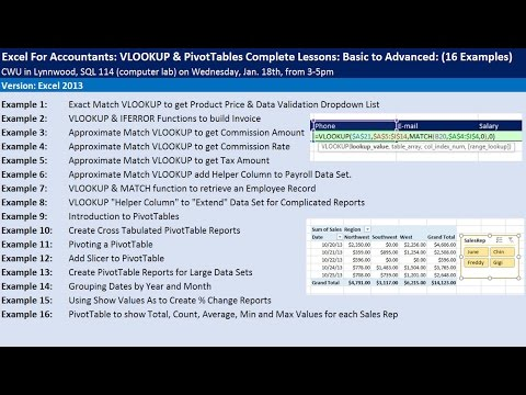 Excel For Accountants: VLOOKUP & PivotTables Complete Lessons: Basic to Advanced: CWU Seminar