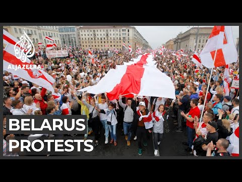 Belarus protests grow: More than 200,000 rally in central Minsk
