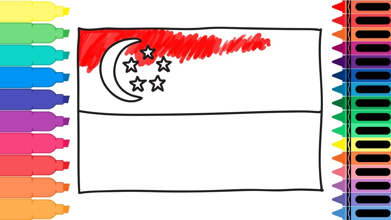 How To Draw Singapore Flag Drawing The Singaporean Flag Art Colors For Kids Tanimated Toys Youtube