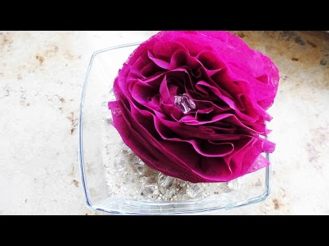 DIY Dekoration Rose im Sand | Zimmer Deko selber machen | Blumen aus Servietten