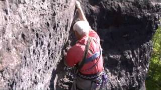 "Climbing the ""Augustinhangel"" in the ""Elbe-Sandstones"", Germany"