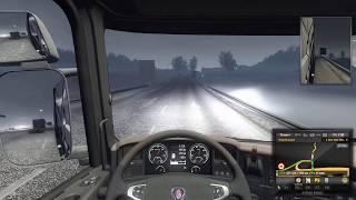 Очень трудный рейс через дорогу дурачков в euro truck simulator 2 мультиплеер + играем на руле!