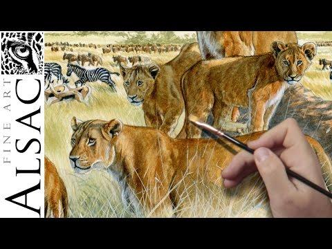 """Safari"" - Wildlife Art on Dinnerware - watercolor by Alsac"