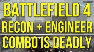 Battlefield 4 Beta - Recon + Engineer Combo Is Deadly! - Full Squad Action