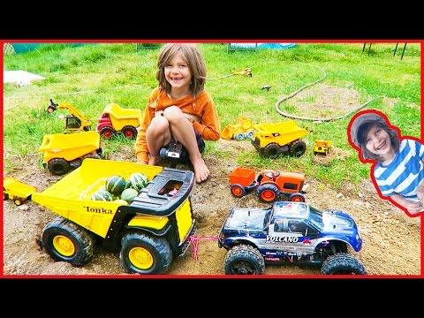 Toy Trucks for Children Harvest from Organic Garden
