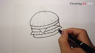 The most delicious Hamburger in KFC | Hamburger Step by Step Drawing Lesson