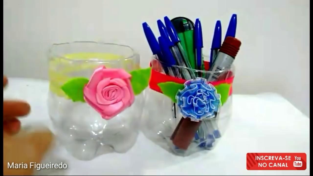 Preferência Porta lápis feito com garrafa pet - Simples e fácil - Reciclagem  PO01