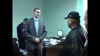 A Nazi leader Alexander Muzychko humiliates a public prosecutor (Rivne, Ukraine)
