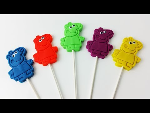 Learn Colors for Kids with Peppa Pig Play Doh Lollipops Surprise Toys Finger family Nursery Rhymes