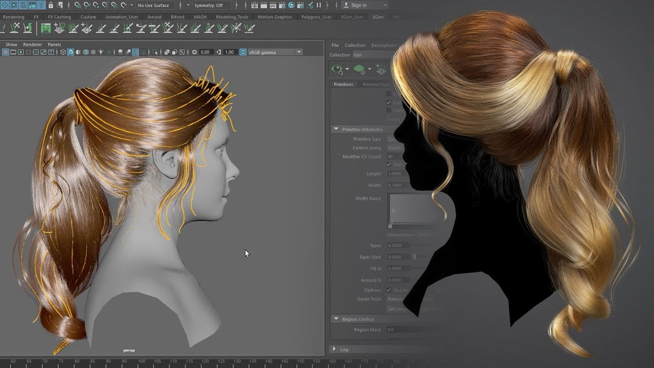 Creating A Female Hairstyle For Production With Maya Xgen With Bruno