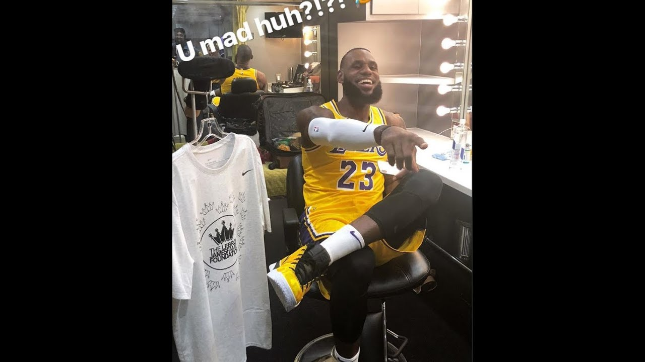 finest selection 44c44 16cff LeBron James wearing the Lakers jersey for the first time