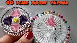 40 iğne motif yapımı iğne oyası salon takımı dantel crochet  pattern tutorial stich mandala