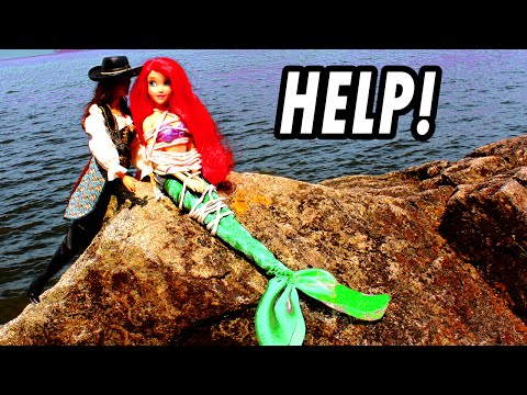 Ariel The Little Mermaid Kidnapped & Saved by Frozen Elsa Anna From Villain. Disney Princess Parody