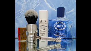 Occam's Safety Razor, D. R. Harris Arlington soap and Brut Oceans aftershave