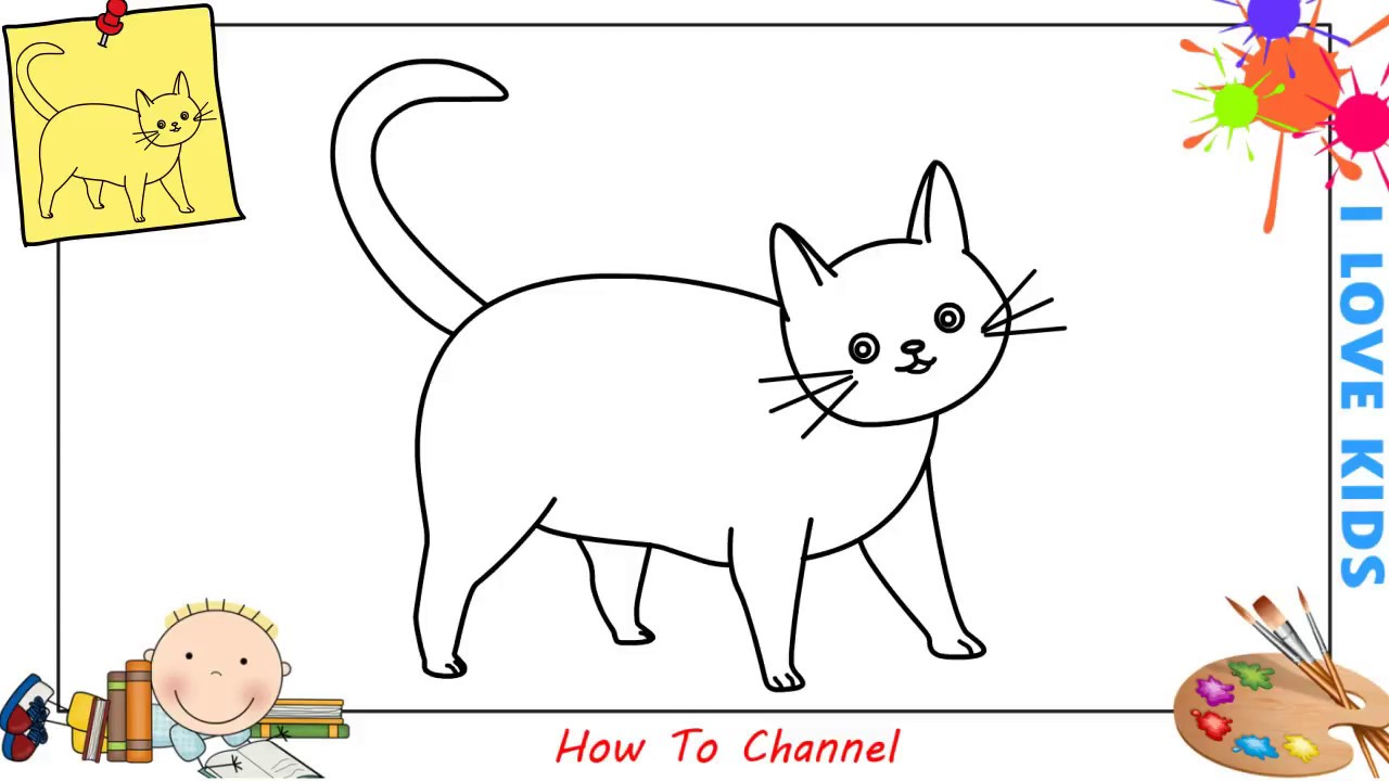 How to draw a cat easy step by step for kids beginners children 7
