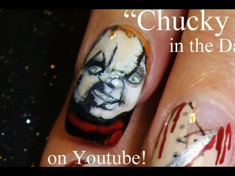 Chucky Nail Art Classic Halloween Horror Movie Nail Art Design