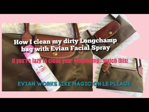 How to clean Longchamp Bag with Evian Facial Spray