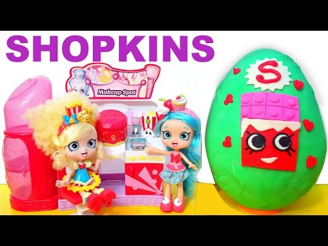 Shopkins Season 3 Playset Makeup Spot Exclusive toy Huge Play doh Surprise Egg Blind Bags Video