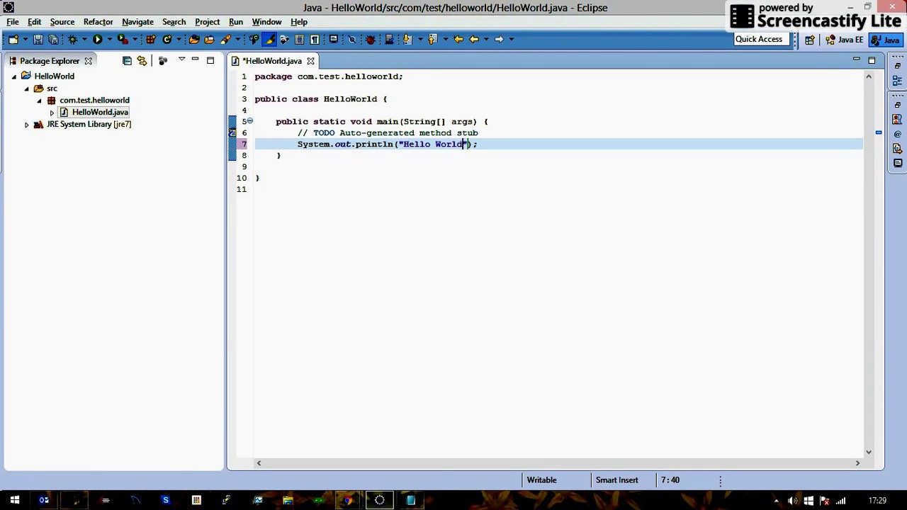 Hello World Java Example Using Eclipse