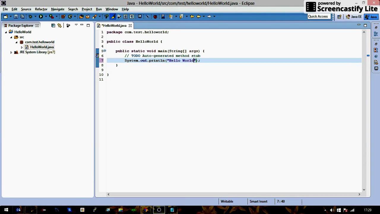 Hello World Java Example Using Eclipse