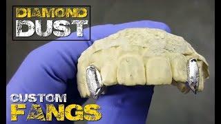 Custom Diamond Dust Single Cap Fang Grillz Set Two Canine K9 Teeth Single Tooth 925 Silver Grills