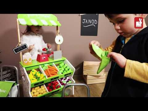e6eed608f Drevený obchod pre deti Janod s pokladňou váhovou ovocím a zeleninou -  YouTube