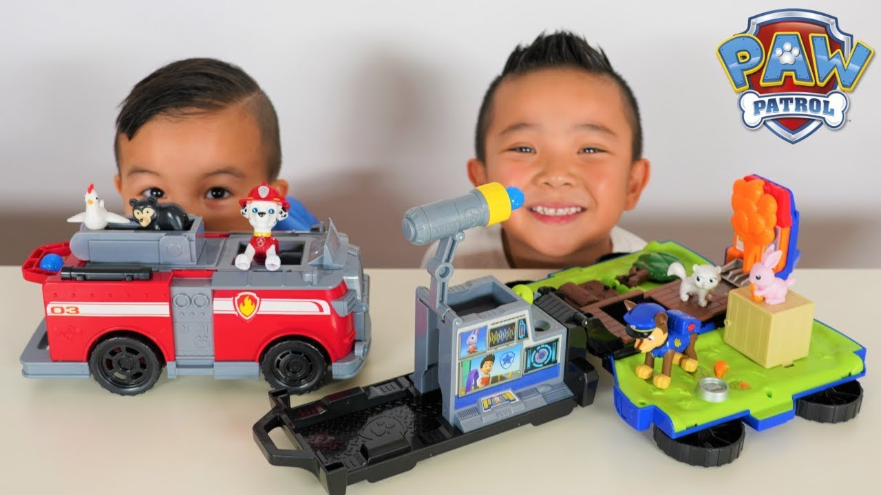 Ride n Rescue PAW Patrol Transforming Marshalls Fire Truck Chases Police Car CKN Toys