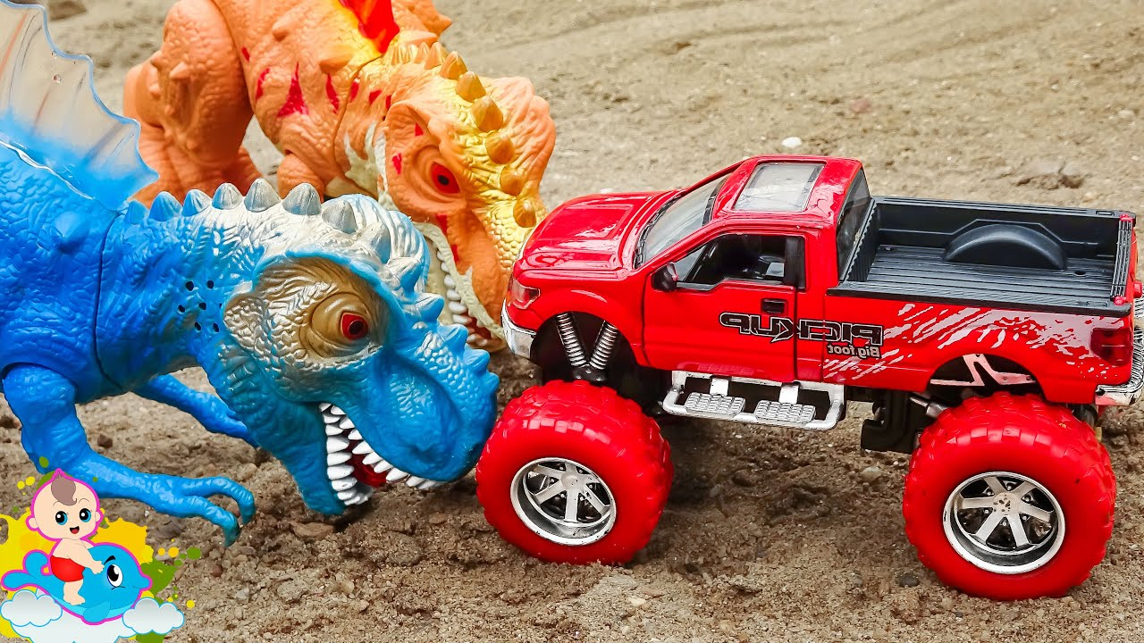 Bạn khủng long tốt bụng biết giúp đỡ xe ô tô đồ chơi - Bé Cá Đồ Chơi