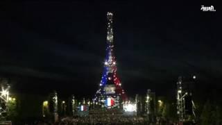 برج ايفل في باريس يتفاعل مع كأس اوروبا