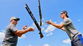 Winchester SXP Pump Shotgun Trick Shots | Throw N Loads | Gould Brothers