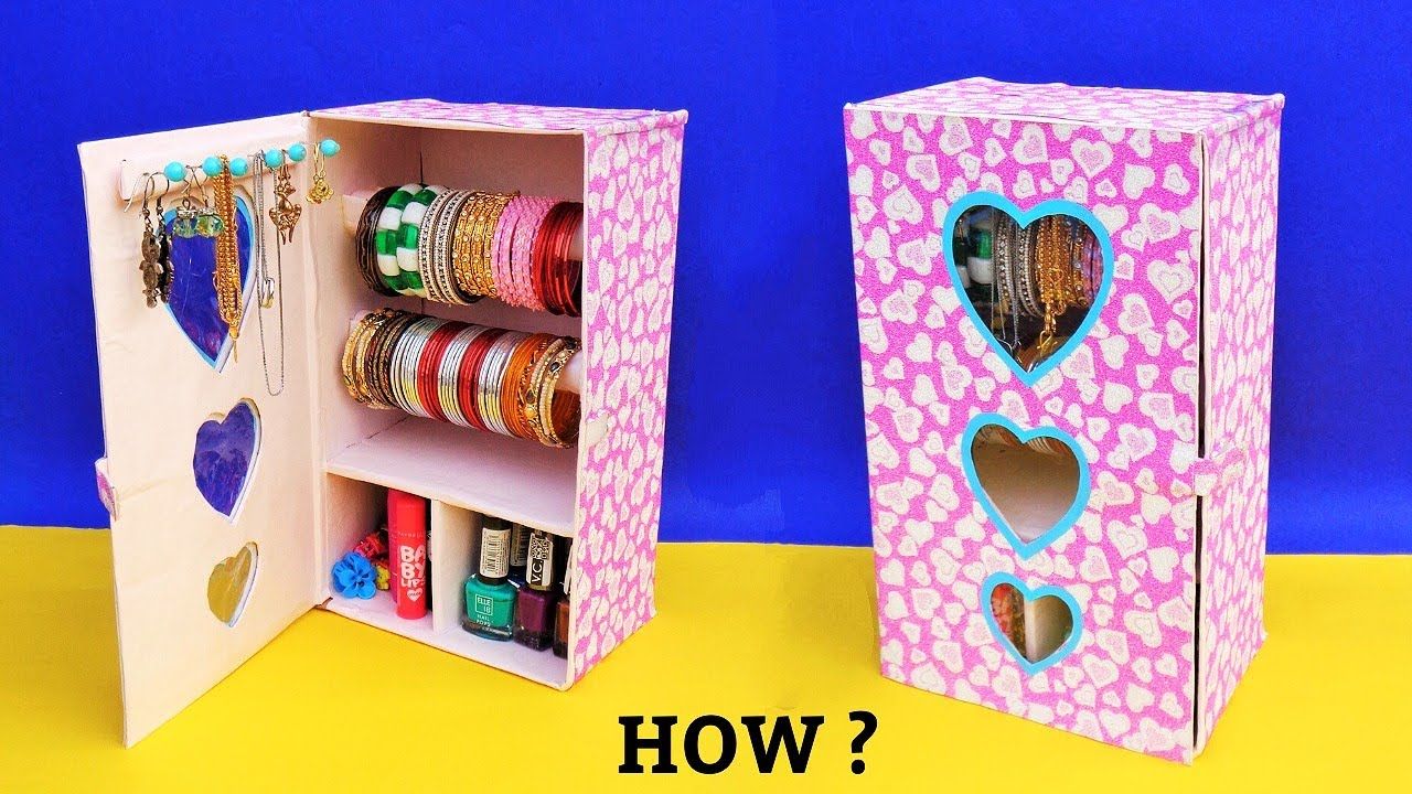 How to make Bangle Stand at home with waste Shoebox | Best out of waste | DIY Jewellery Organizer