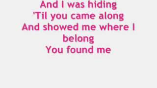 KELLY CLARKSON LYRICS for You Found Me (onscreen text)