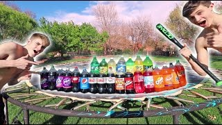 TRAMPOLINE VS EVERY SODA! *EXPLOSIONS*