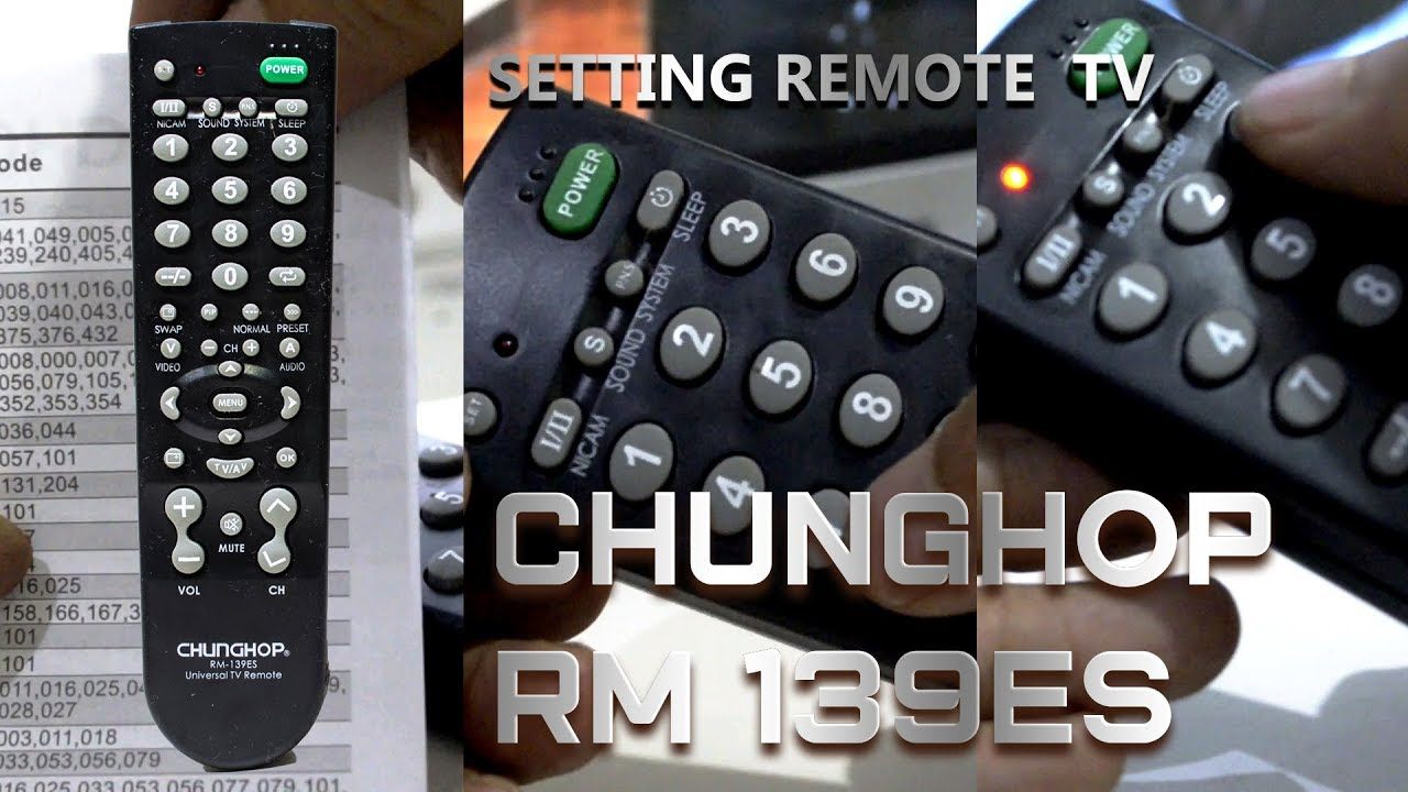 Setting Remote TV Chunghop RM 139ES FIrst Time setup
