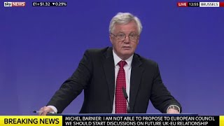 David Davis & Michel Barnier Press conference after fifth round Brexit talks w/Q&A