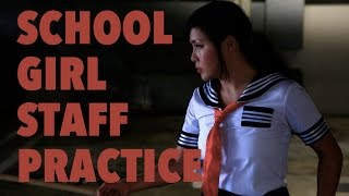 Japanese School Girl Kung fu Bo Staff - PeiPei Alena