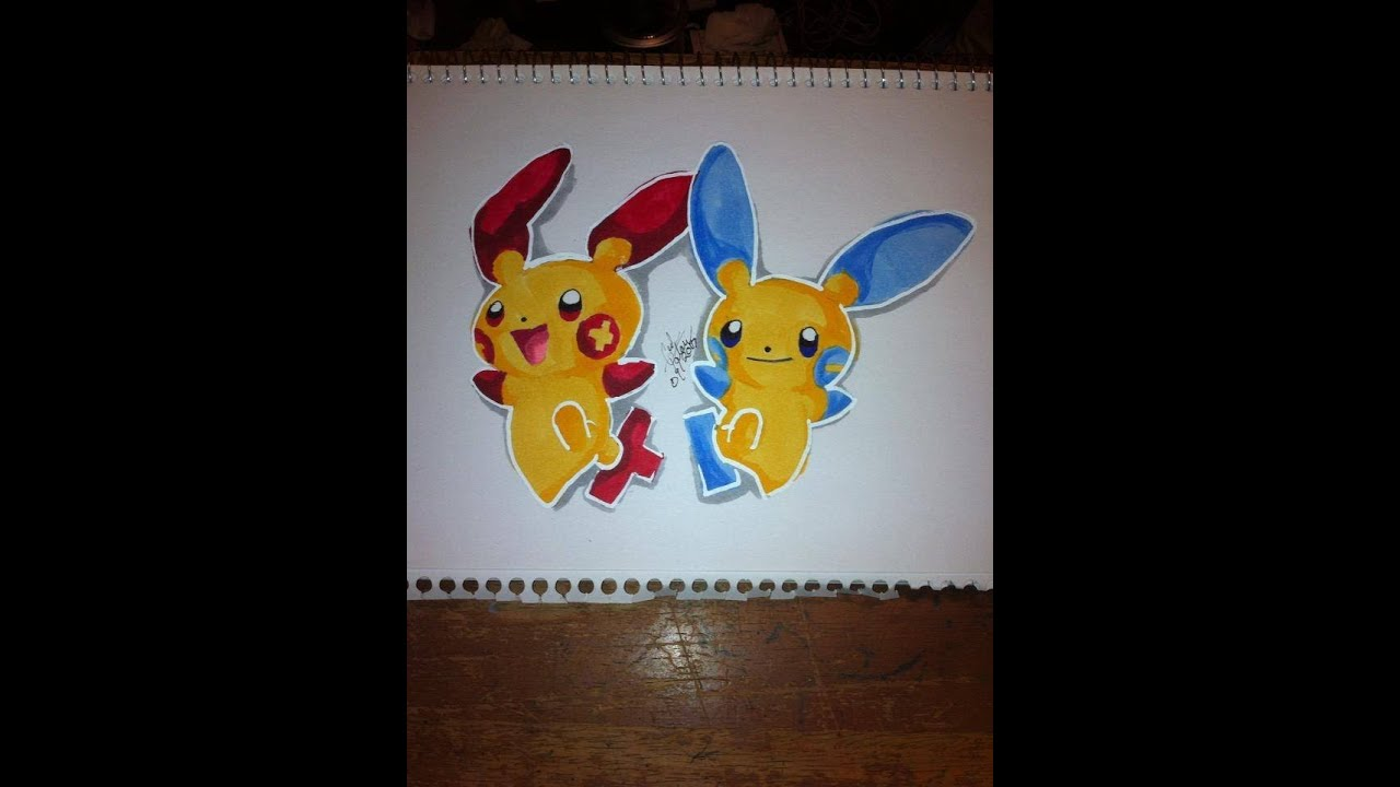 Copic Marker Speed Color Pokmon Plusle And Minun With