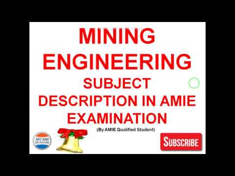 Mining Engineering Subject Description