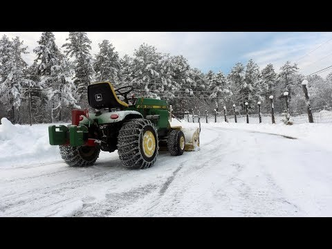 John Deere 400 Garden Tractor Snowblower Install, Set Up, and Action