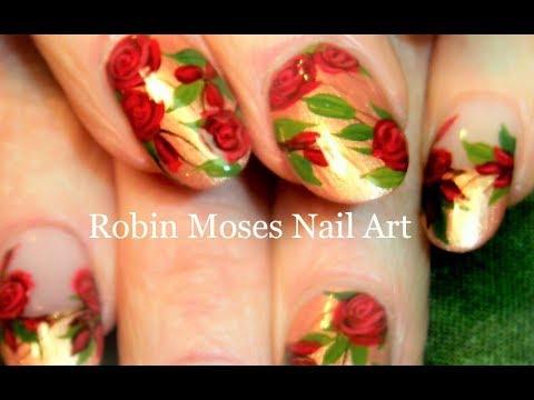 Diy Easy Rose Nails Rosegold Nail Art Design Tutorial Youtube